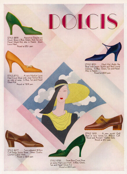 Advertisement for Dolcis shoes including: golf shoes, a Derby sports shoes & court shoes in bright exotic colours