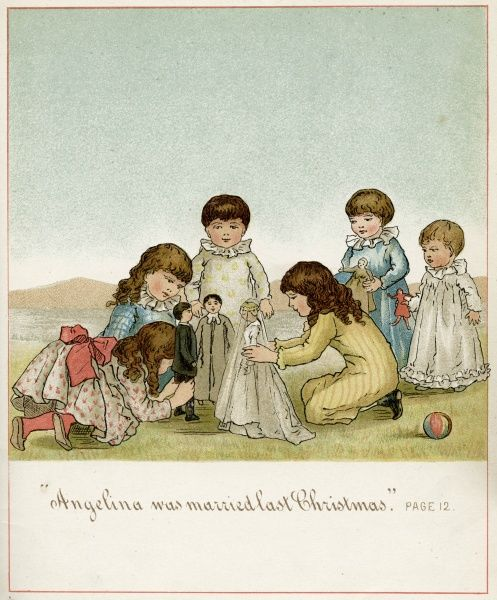 A group of girls have a pretend wedding ceremony, playing the bride and groom, vicar and guesses. Date: 1882