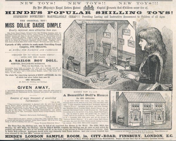 Hinde's Popular Shilling Toys! Advertisement for a Victorian doll's house. Date: 1881