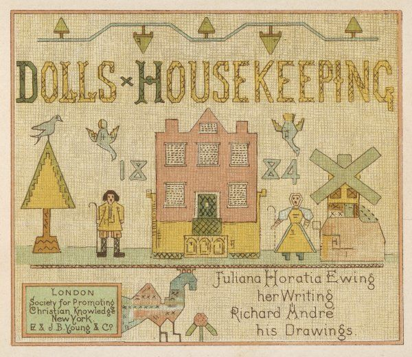 A doll's house design on the title page of a book