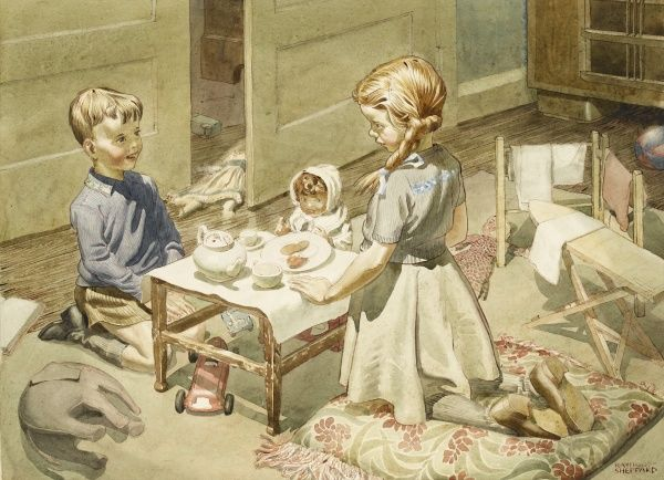 A Brother and sister playing at a Doll's Tea Party. Watercolour painting by Raymond Sheppard