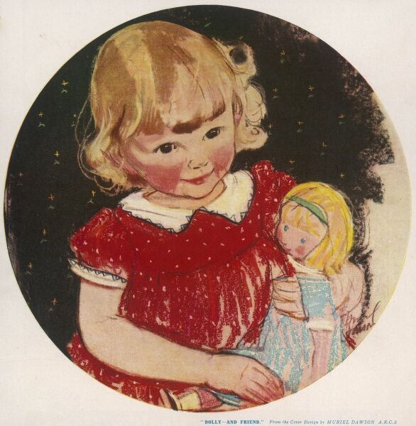 A little girl in a red dress beams happily as she cradles her favourite doll