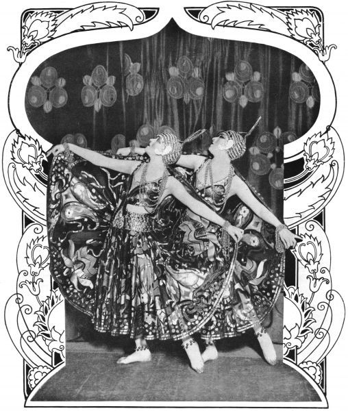 The Dolly Sisters wearing their Arabesques costumes in Oh Les Belles Filles, Palace Theatre, Paris, 1923 1923