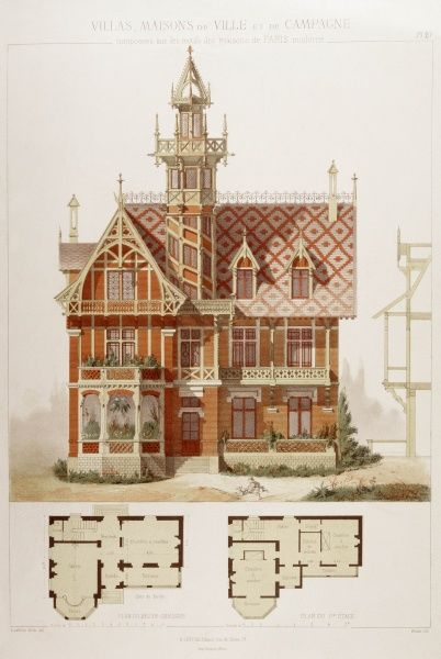 A splendid design for a domestic house with tower, bay window and balconies: elevation or projection and plans of the ground and first floors