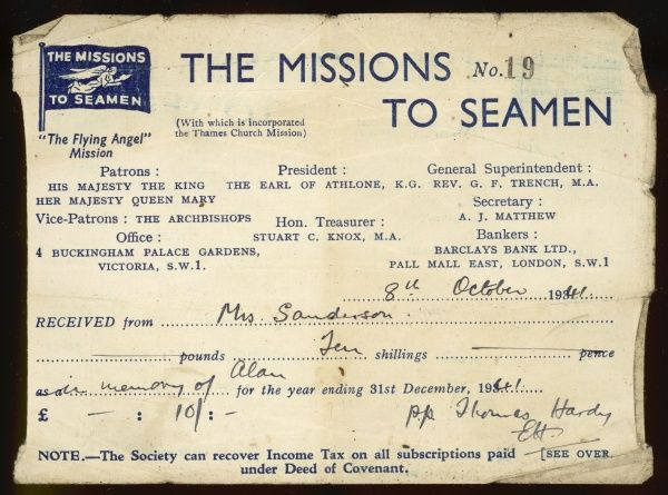 A note detailing a mother's donation to the Missions to Seamen charity in memory of her son, whose ship was sunk in the Altantic in World War Two