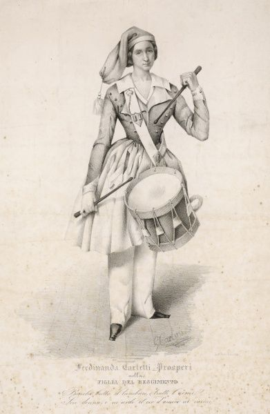 Ferdinanda Carletti Prospera as Marie, 'the daughter of the regiment', first performed 1840