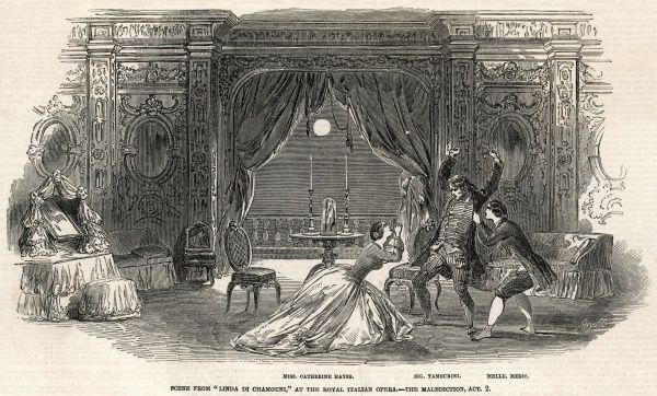 The malediction scene from Act 2, from the English production, with Catherine Hayes, Tamburini and Mlle. Meric at the Royal Italian Opera, London