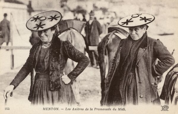 Two Women Donkey Drivers in their extraordinary hats at Menton, France Date: circa 1910s