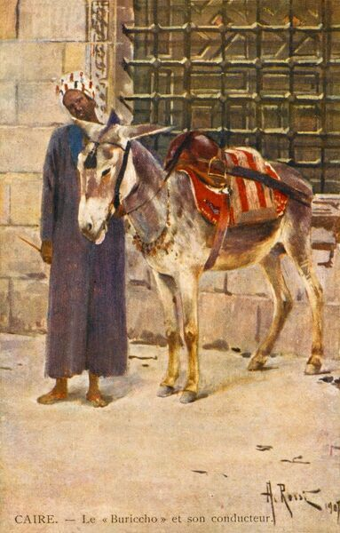 A fine painting of an Egyptian and his donkey - Cairo, Egypt