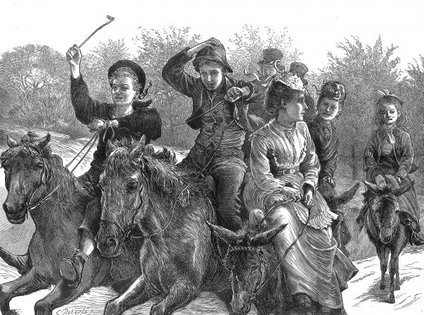 Engraving showing a group of women, boys and girls riding donkeys on Hampstead Heath during a holiday in May 1873