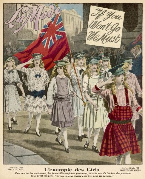 'If you don't go, we must...' In London's Trafalgar Square patriotic British girls parade as soldiers, to shame any cowardly men who shrink from enlisting in WW1