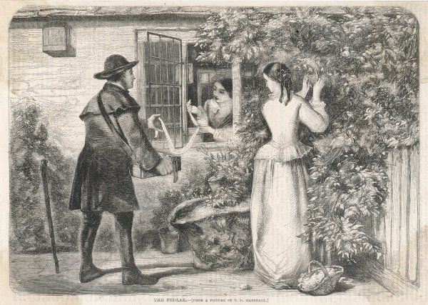 A pedlar displays his wares at a cottage window, watched by another young woman of the household
