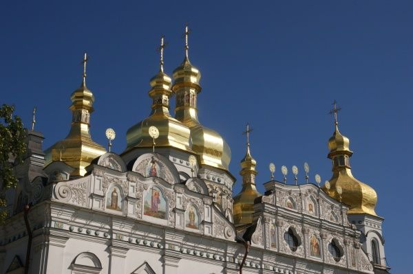 View of the Cathedral of the Dormition (Pechersk Lavra), or Assumption Cathedral, in Kiev, Ukraine