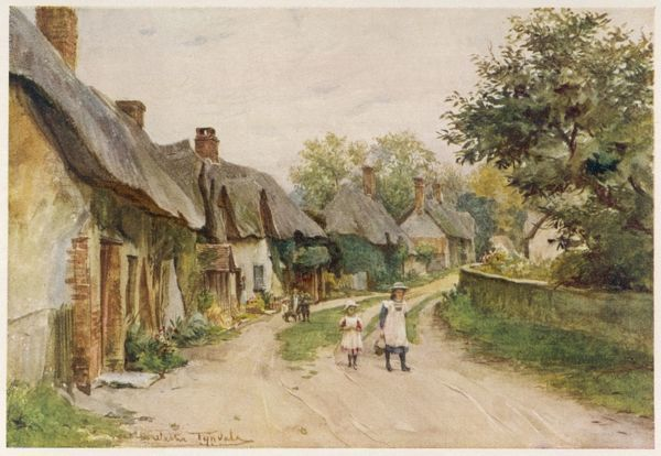 Two little girls walk along the road at Moreton, Dorset, unaware that their village is almost too picturesque to be real