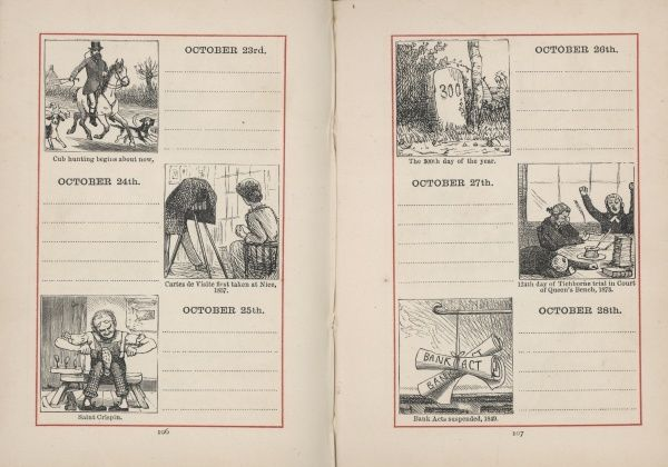 A double page spread in a young person's diary for 23-28 October. Each day is given a small illustration, relating either to the season, or to the anniversary of an historical event