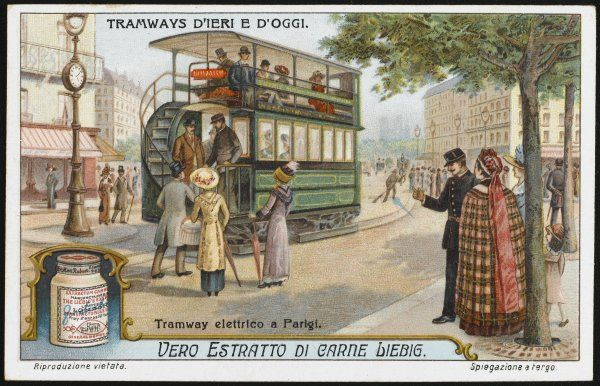 Though Paris never adopts the double-decker bus, its trams have two decks like those of London