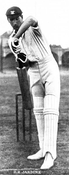 Photograph of Douglas Jardine (1900-1958) batting for Oxford University in 1923. Jardine went on to play for Surrey, MCC and England, captaining the MCC during their controversial 'Bodyline' tour of Australia in 1933