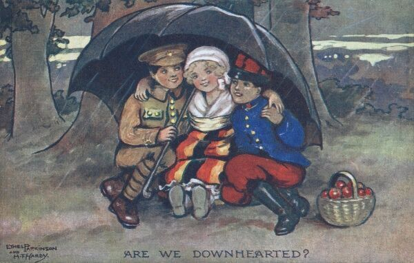 A World War One postcard showing France, Britain and Belgium represented by three children snuggled up under the shelter of an umbrella together