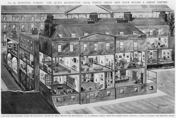 A cut-away illustration of No. 10 Downing Street: 'the quiet backwater from which great men have ruled a great empire'. 10 Downing Street from the garden front with Nos 11 and 12 at right. Use of some of the principal rooms in 1940: 1