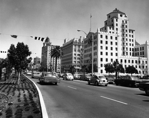 Traffic at Downtown Long Beach, South California, U.S.A. Date: late 1960s