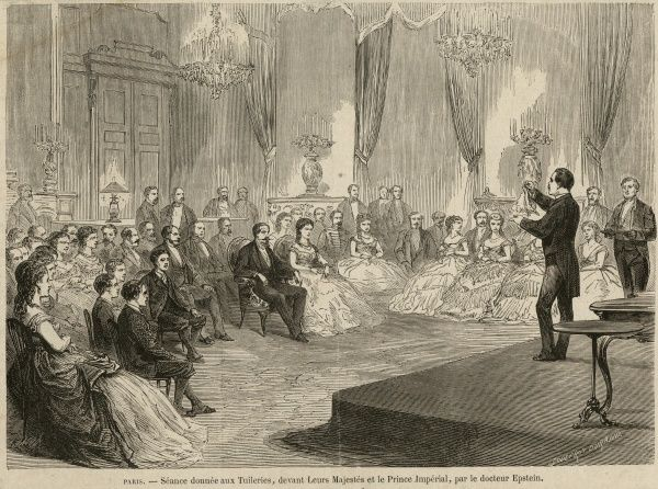 Copy of wood engraving by S. Durand showing Dr Adam Solomon Epstein, the French conjuror, performing before the Imperial Prince, circa 1869. HPG/8/2/1 (xxxiii)