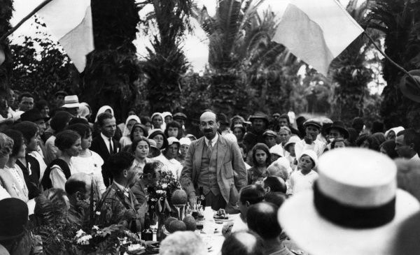 Dr Chaim Azriel Weizmann (1874-1952), member of the Zionist Commission in Palestine, who later became the first President of the State of Israel. Seen here speaking at a banquet at Rishon LeZion, now in Israel, towards the end of the First World War