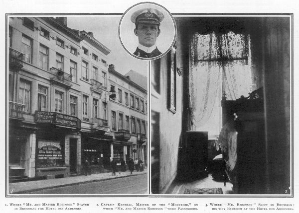 Disguised as Mr and Master Robinson, Dr Crippen and his mistress Ethel Le Neve stayed overnight at the Hotel des Ardennes in Brussels after fleeing London. The exterior of the hotel is shown, together with the tiny bedroom where Crippen slept
