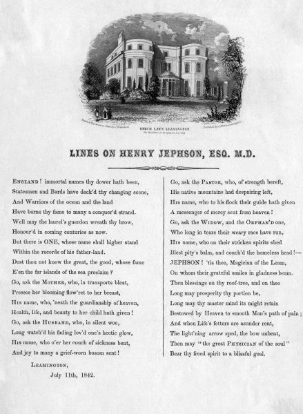DR HENRY JEPHSON'S home at Beech Lawn, Leamington, Warwickshire. The panegyrical poem to the good doctor is a marvel of laudatory language. Date: 1842