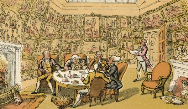 Dr Syntax enjoys a meal at the behest of a Lord. Several bottles of wine are visible whilst Dr Syntax is talking animatedly. The walls of the room are crammed with framed paintings