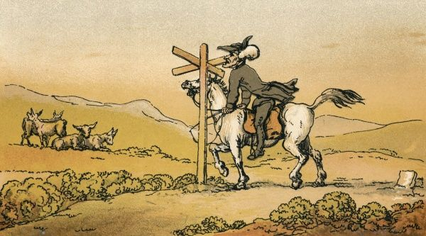 Whilst riding in the open country, Dr Syntax stops to look at a signpost. Date