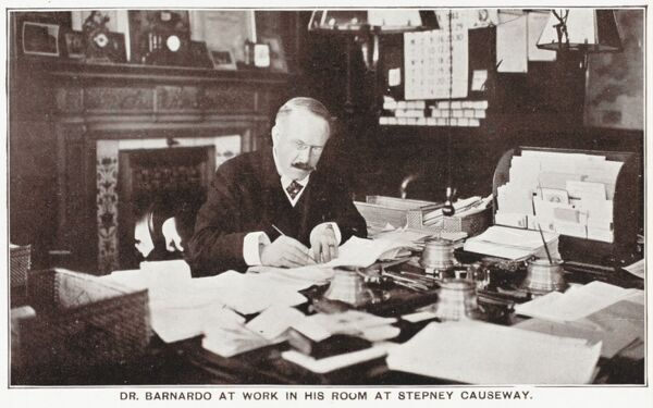 Dr. Thomas John Barnardo (1845 - 1905) at his offices - 18-26 Stepney Causeway, London
