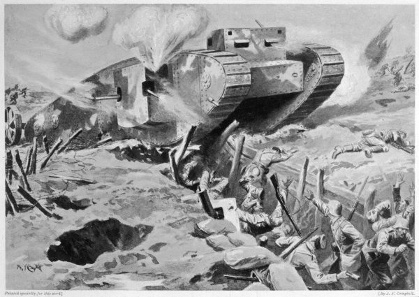 Second Lieutenant Drader attacks the German trenches in his tank