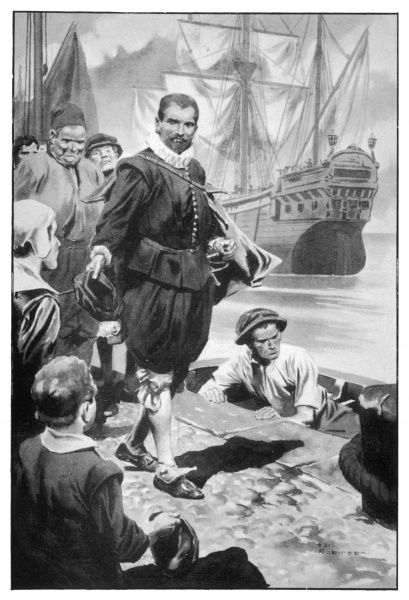 Francis Drake prepares to embark on a worldwide voyage in his ship 'Golden Hind&#39