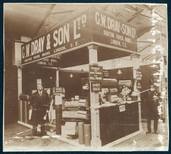 An exhibition stand of G W Dray & Son Ltd, paper manufacturers. Date: 1890s