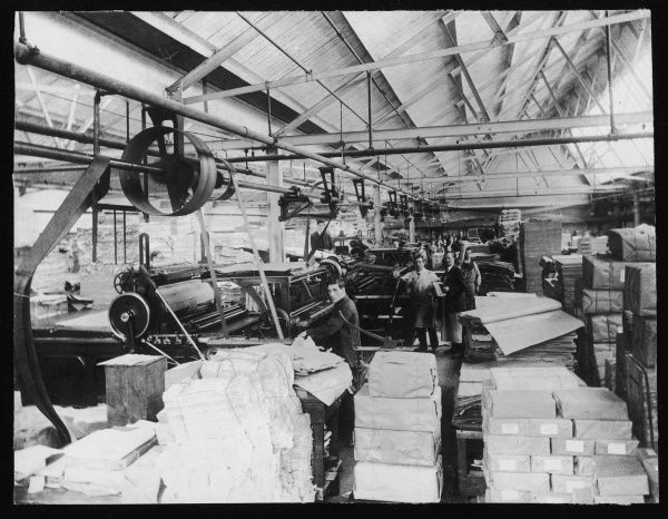 Workers making and sorting paper at Drayton's Paper Works, Fulham, London