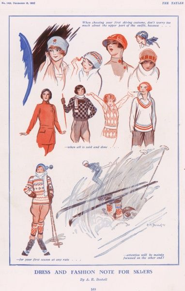 Fashion ideas for the first time skiier. Alfred Bestall (1892-1986) is best-known as the artist who drew Rupert Bear for thirty years