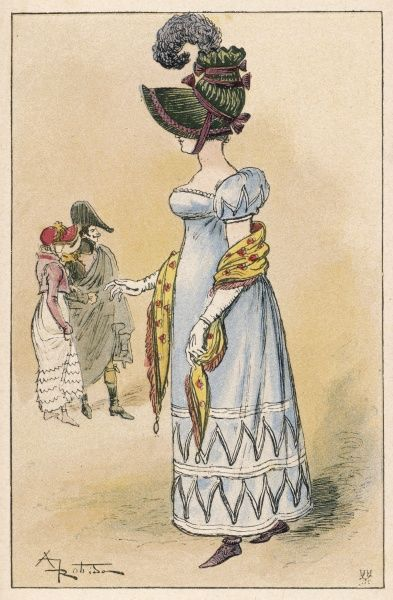 A gown of the first French Empire, with a high waistline, puffed sleeves & ornameneted on the sleeves and hemline with vandyking, according to a later source