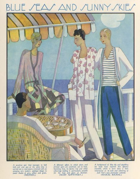 Beach pyjama suits by Redfern, Notwitzky or Rochas: loosely cut trousers, blouses, jackets & robes for beside the sea in stripes or a modern abstract applique design