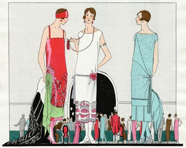 Three fashionable women wearing evening dresses. On the left, a salmon pink narrow strap tubular satin crepe casino dress with embroidered silver pearls and a green fan detail at the hip, by Beer. In the middle, a white satin crepe cap sleeve dress
