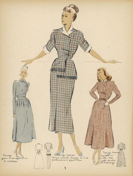 Three dresses all with tight waists and calf-length skirts. One has a straight skirt with wrap-over, button bodice with fringing, plus white collar and cuffs