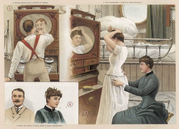 Dressing and toilet are tricky in a small cabin on board a P&O liner bound for India, particularly in a rough sea