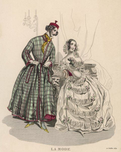 Man: plaid dressing gown, skull cap & slippers. Woman: evening dress, short sleeves with lace volans & bertha, skirt en tablier trimmed with swags of lace & roses