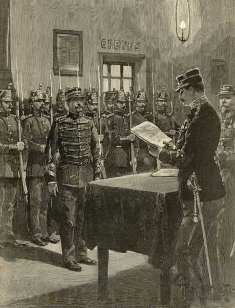 Captain Alfred Dreyfus being court-martialed during which he was denied the right to examine the evidence against him
