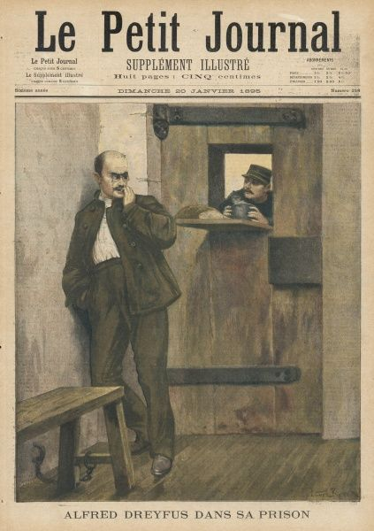Dreyfus in prison after being found guilty of treason by a court-martial and having his rank publicly stripped