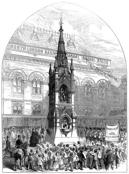 Engraving showing the opening of a drinking fountain outside Bow Station by the Lord Mayor of London, 1872. This monumental fountain was dedicated to Messrs. Bryant and May, manufacturers of 'Patent Safety Lucifer Matches&#39