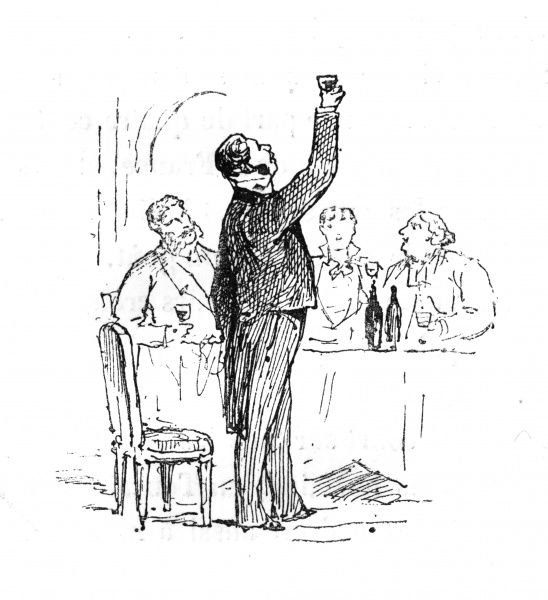 A connoisseur holds up his wineglass to the light Date: 1878