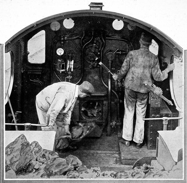 Development of high speed railway travel; two drivers in the cab of the Saint Bartholomew. On its initial run the locomotive arrived into Paddington three minutes early, covering just over 77 miles in 72 minutes, with a highest speed of 83 mph