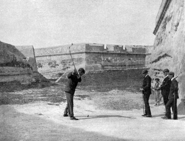 The Malta links have nine holes and surround the fortifications. Date: 11th April 1903