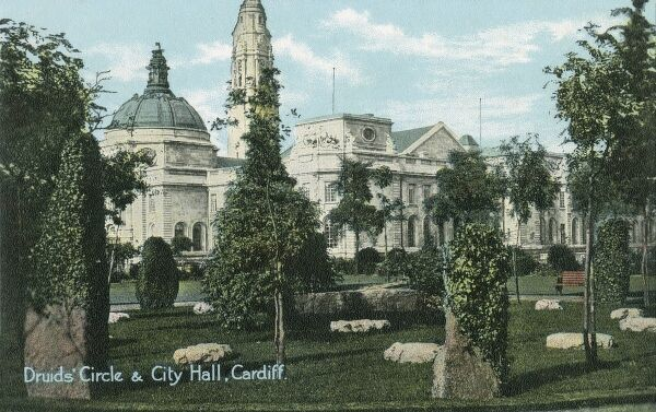 Druid's Circle and City Hall, Cardiff, Wales