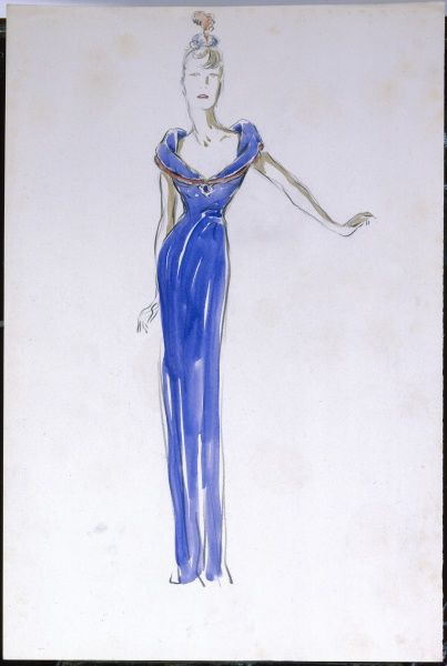 Slim, long lined blue evening dress with a wide, low cut open collar to emphasise the slimness of the dress